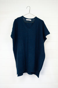 Juniper Hearth ethically made baby yak wool one size Mile tunic vest in French navy.