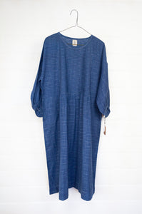 DVE handloom hand dyed indigo cotton with ikat like weave, Anisha dress one size with three quarter sleeves and side pockets.