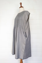 Load image into Gallery viewer, Dve pure boiled wool mid grey pin tucked sleeveless Rima pinafore dress.