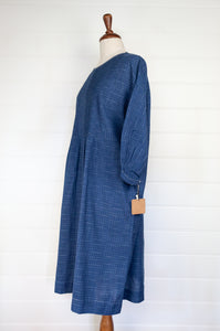 Dve Anisha dress - indigo ikat handloom cotton