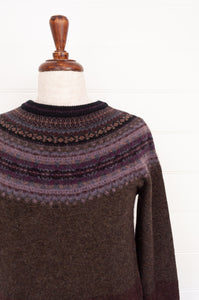 Eribé Alpine fairisle sweater made in Scotland, Blackbird, a stunning deep dark palette of chocolate and charcoal, with soft highlights of lilac, burgundy, grey blue.