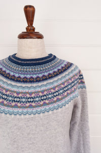 Eribé Arctic short fairisle sweater in Arctic,cool winter palette - soft ash grey with accents of aqua, lilac and peppermint.