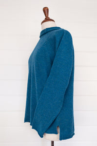 Eribe made in Scotland Corry raglan sweater, relaxed fit 100% merino wool, in Mallard, teal green blue.