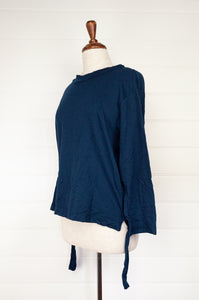 Valia Collective Daydream pullover in merino knit in Regency deep green blue teal, made in Australia. Easy fit with raised neck band, long sleeves and optional rear hem tie pull feature.