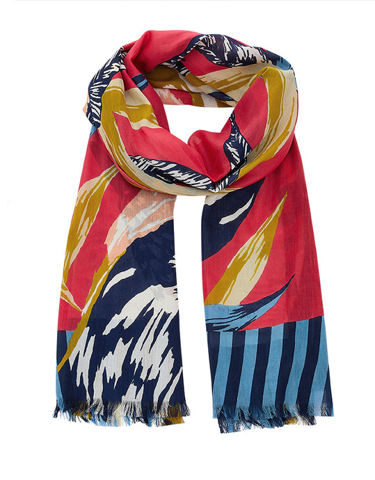 Inouitoosh cotton scarf Corcovado, tropical birds in deep pink, blush pink, blue and white and mustard.