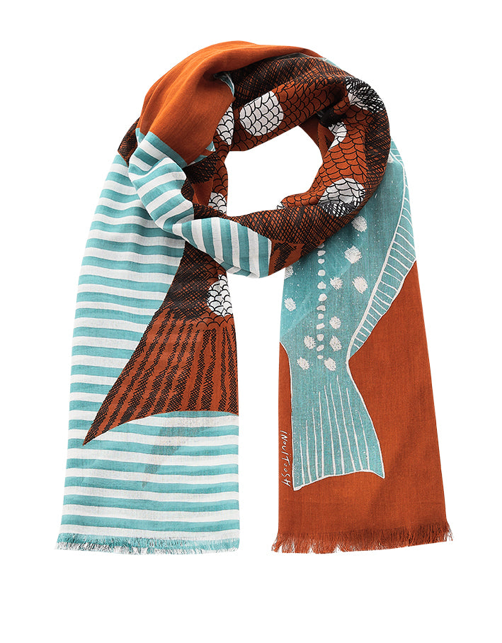 Inouitoosh French designed scarf in organic cotton, Kuchi camel two fish on aqua and caramel.