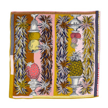 Load image into Gallery viewer, Inouitoosh silk and modal square scarf 130 x 130 cm, Medicis pineapple, strawberry and apple in shades of blush pink, rose pink, navy, caramel, white and mustard.