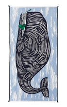 Load image into Gallery viewer, Inouitoosh French design fine cotton summer scarf, Moby design featuring navy whale on light blue cloud background, with emerald green highlight.