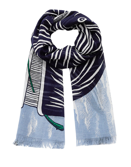 Inouitoosh French design fine cotton summer scarf, Moby design featuring navy whale on light blue cloud background, with emerald green highlight.