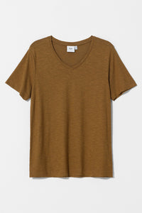Elk Rannell tee t-shirt in dijon mustard, organic cotton and hemp, V-neck short sleeve.