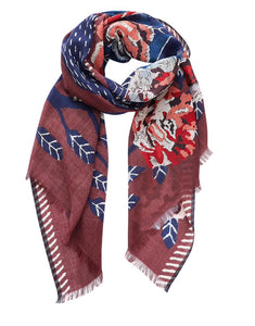 Inouitoosh designed in France pure wool scarf,Felide the lion in the blooming jungle - navy and white against a burgundy background with beautiful cabbage roses and abstract vines.