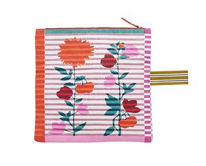 Inouitoosh Aout folding clutch in cotton canvas, floral pattern on stripes in pink, orange, red and teal.