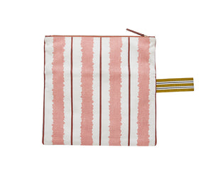 Inouitoosh printed cotton canvas clutch pouch in Ikat blush pink stripes.