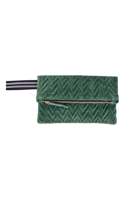 Inouitoosh folded clutch pouch in quilted green velvet.