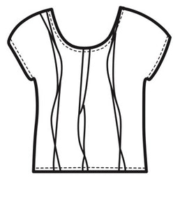 Kimberley Tonkin S2020 collection, Fisher pleat top line drawing.
