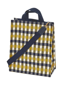 Inouitoosh Carla Idyle tote bag in mustard, navy and ecru check cotton, with handles and detachable shoulder strap.