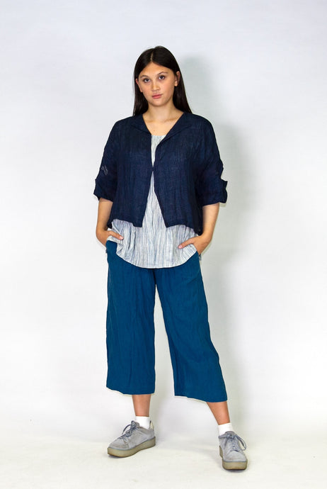 Kimberley Tonkin S2020 collection, Celeste 3/4 length pant in teal linen.
