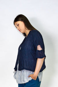 Kimberley Tonkin S2020 collection, Stacey crop duster jacket in navy linen gauze.