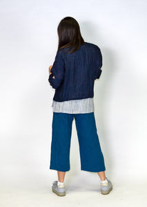 Kimberley Tonkin S2020 collection, Celeste 3/4 pull on pant in teal linen.