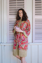 Load image into Gallery viewer, Cotton voile kimono robe dressing gown in coral bird print with yellow trim.