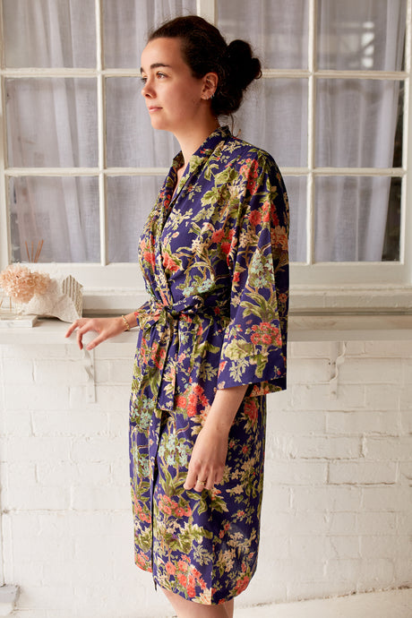 Juniper Hearth kimono robe dressing gown in Sardinian navy print, pink and green floral.