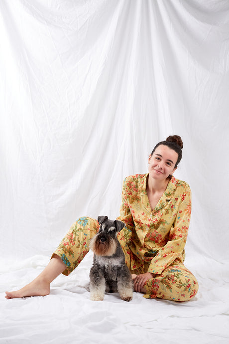 Ethically made cotton voile pyjamas, screen printed with a coral, raspberry and aqua floral print on sunshine yellow.