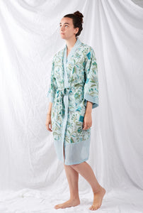 Ethically made, cotton voile kimono robe dressing gown in blue floral print.