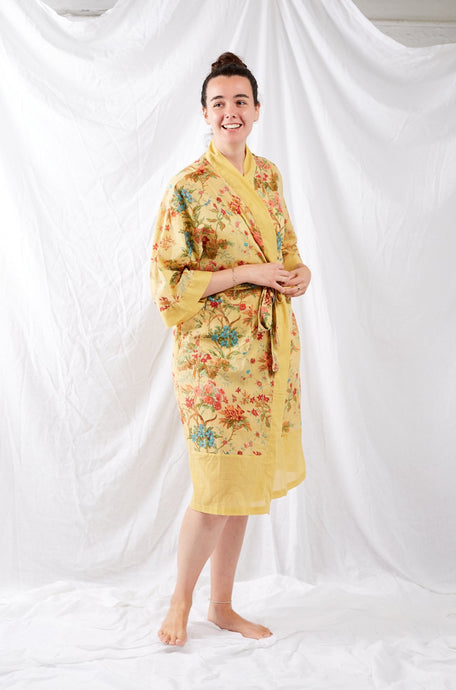 Ethically made, cotton voile kimono robe dressing gown in yellow floral print.