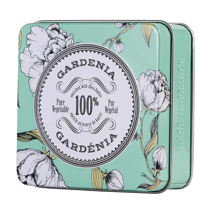 La Chatelaine tinned travel Gardenia soap, made in France.