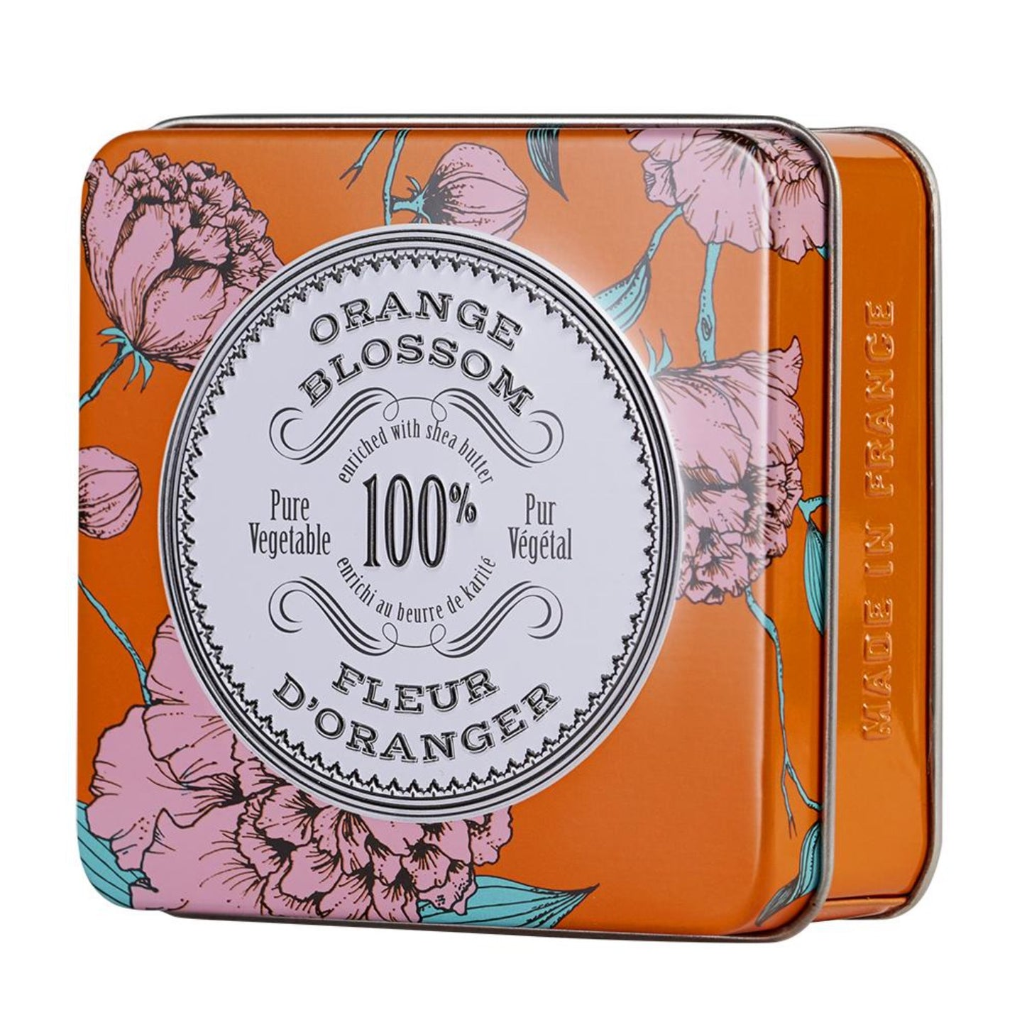 La Chatelaine orange blossom tinned travel soap