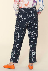 Nancybird Terrain pant in black and white circle print, 50% cotton and 50% linen (rear view).