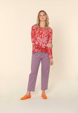 Load image into Gallery viewer, Nancybird Spinifex easy fit raglan top in pure silk, hand drawn print pink on red.