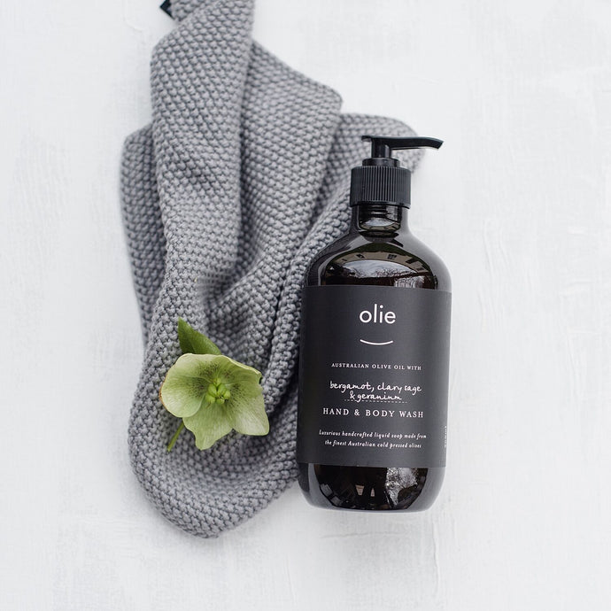 Olieve & Olie bergamot, clary sage and geranium organic olive oil hand and body wash.