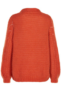 Noa Noa mohair blend sweater pullover jumper in lace lacy knit in orange red.
