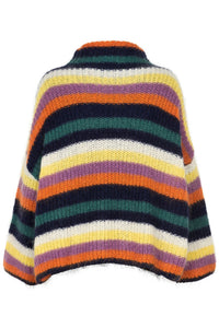 Noa Noa mohair blend turtleneck sweater pullover jumper in stripes of white, yellow, lilac, orange, navy and teal.