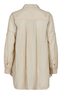 Noa Noa cotton tunic long sleeve blouse top in stripe of off white, pale green and terracotta.
