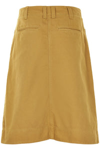 Noa Noa cotton twill A-line denim skirt in mustard yellow, patch pockets in front and zip front (rear view).