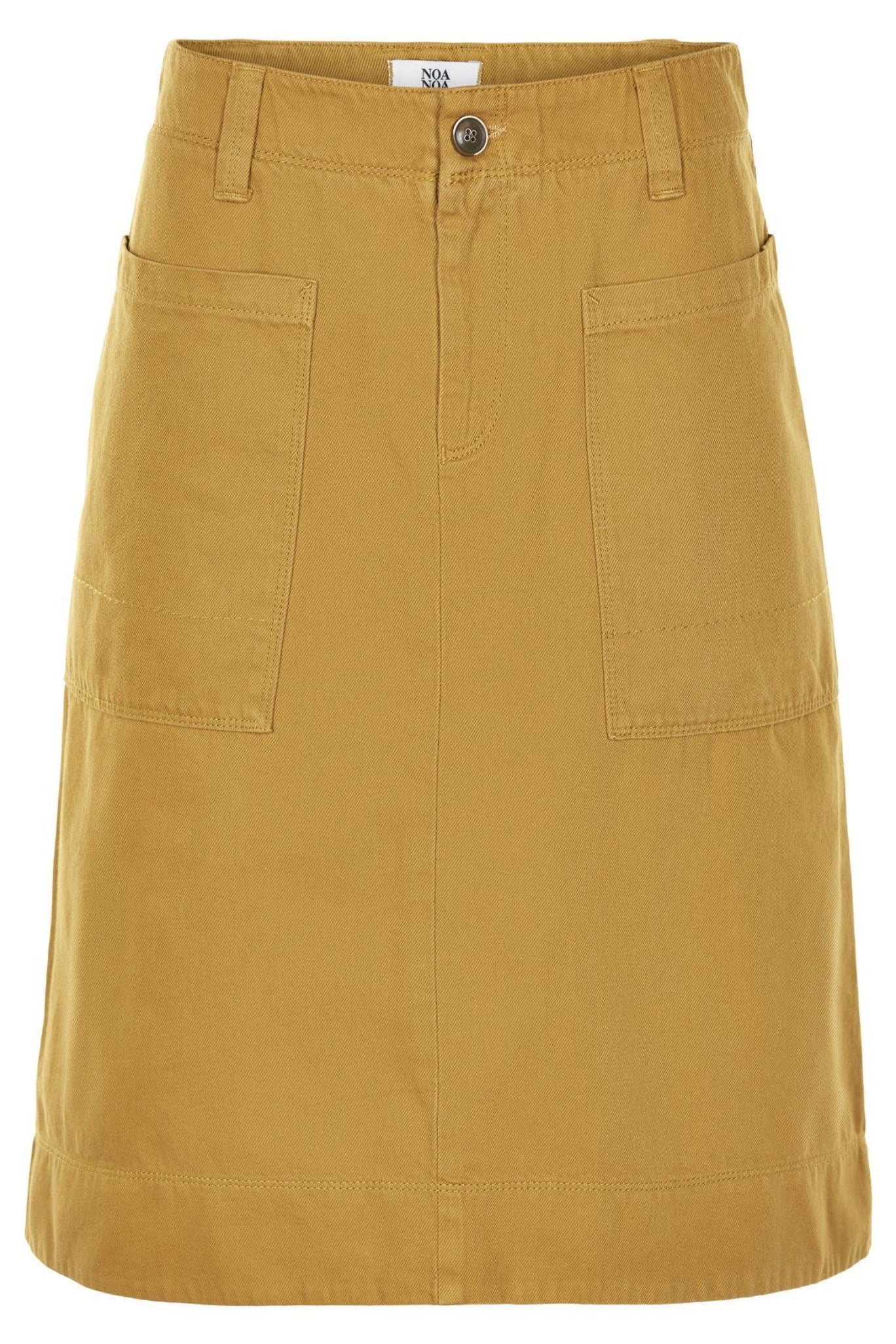 Noa Noa cotton twill A-line denim skirt in mustard yellow, patch pockets and zip front.