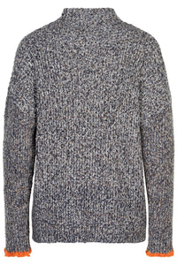 Noa Noa charcoal marle rib knit sweater jumper pullover in charcoal with orange cuff detail.