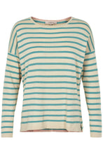 Load image into Gallery viewer, Noa Noa knit striped pullover stripe t-shirt green and white.