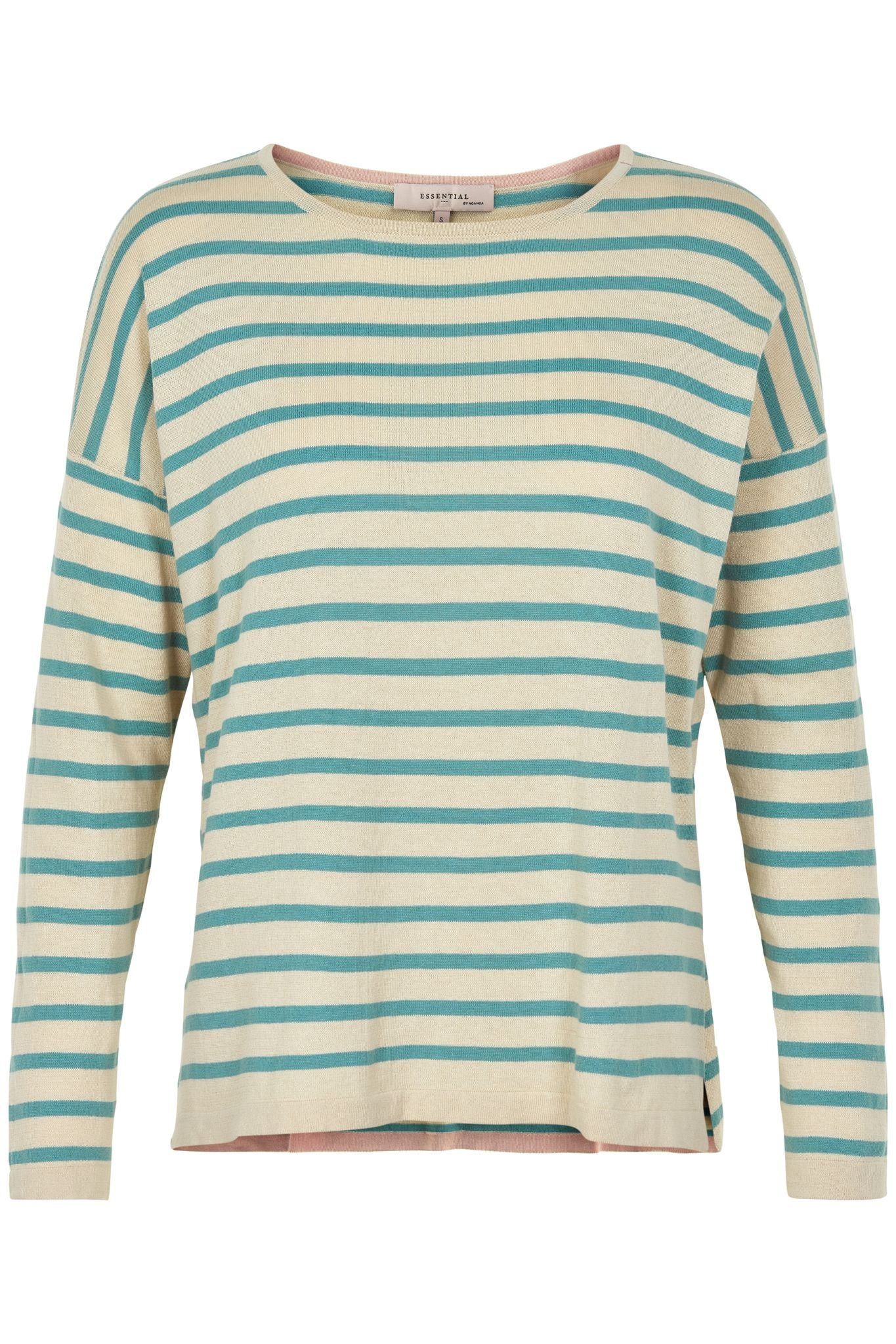 Noa Noa knit striped pullover stripe t-shirt green and white.