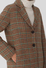 Load image into Gallery viewer, Nice Things by Paloma S designed in Barcelona Spain Checks long coat, classic tweed check in shades of brown with teal and rust highlights.