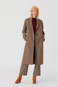 Nice Things by Paloma S designed in Barcelona Spain Checks long coat, classic tweed check in shades of brown with teal and rust highlights.