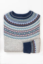 Load image into Gallery viewer, Eribé Arctic short fairisle sweater in Arctic,cool winter palette - soft ash grey with accents of aqua, lilac and peppermint.