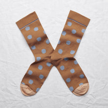 Load image into Gallery viewer, Bonne Maison fine cotton socks, made in France. Caramel polka dots, blue polka dots on caramel.