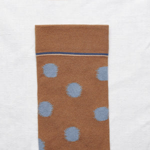 Bonne Maison fine cotton socks, made in France. Caramel polka dots, blue polka dots on caramel.