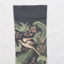Load image into Gallery viewer, Bonne Maison fine cotton socks, made in France. Steel Birds, birds on a steel blue background.