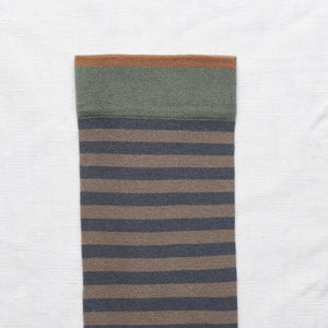 Bonne Maison fine cotton socks made in France, Steel stripe, stripes of taupe and steel blue with cedar green trim and caramel brown toe.