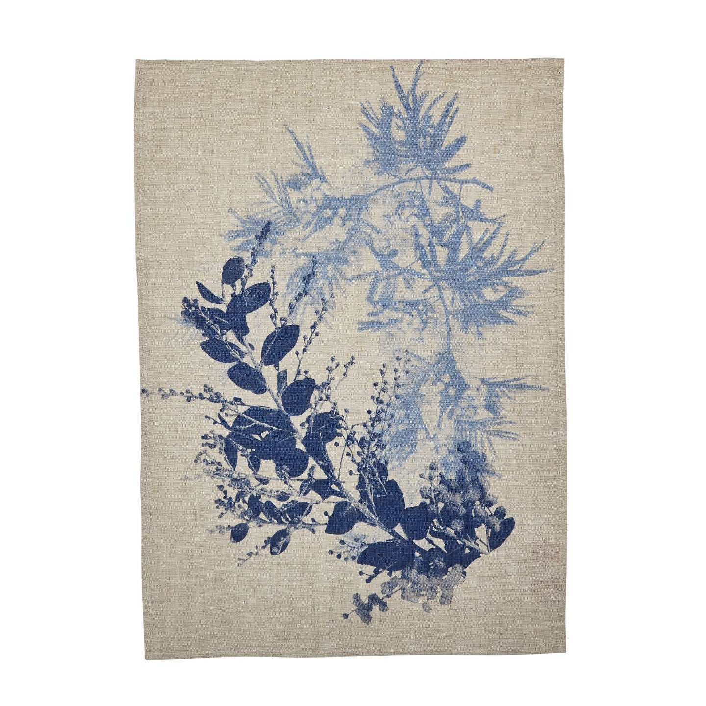 Bonnie and Neil tea towel, hand printed in Melbourne, wattle garden blue on oat linen.