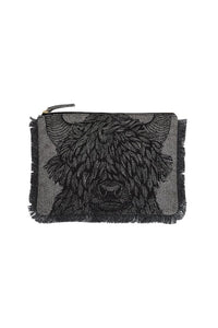 Inouitoosh Yako yak pouch in black, pure wool, zippered with a fringe.